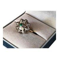 Georgian Emerald and Diamond 14K-18K Gold Ring