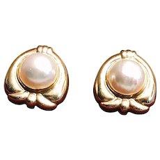14K Yellow Gold Mabé Pearl Earrings