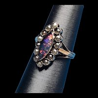 1880s 14K Yellow Gold 14K Opal and Pearl Wedding or Engagement Ring