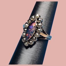 Victorian 14K Yellow Gold 14K Opal and Pearl Ring