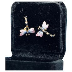 Sterling Cloisonné Dragonfly 24K Gold-wash Sterling Earrings