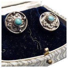 Unusual Vintage Sterling and Turquoise Stud Earrings