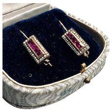 14K Ruby and Seed Pearl Vintage Pearl Earrings