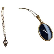 Vintage Gold Filled Banded Agate Pendant Necklace