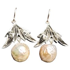 Exceptional French Antique Diamond Golden Baroque Pearl Earrings