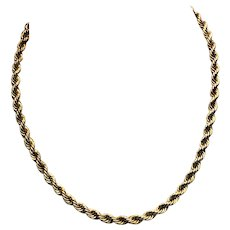Vintage Chunky Gold Filled Rope Chain Necklace 15.5 Inches