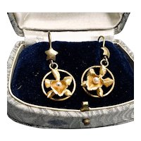 Vintage 14K Gold and Pearl Orchid Earrings