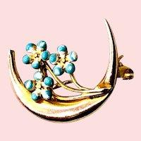 Vintage Blue Enamel Forget-Me-Not 14K Gold Crescent Moon Brooch