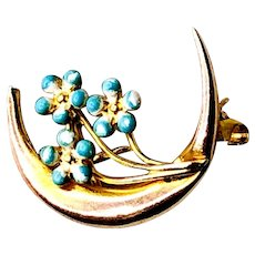 Vintage Blue Enamel Forget-Me-Not 14K Gold Crescent Moon Brooch