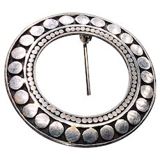 Mid-century Sterling Niello Beaded Circle Brooch