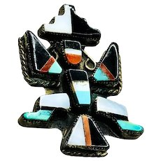 Vintage Native American Kokopelli Sterling with Inlay Brooch
