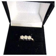 Estate 14k Yellow Gold 3 Diamond Row Band - Lovely