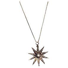 Victorian 14K Yellow Gold and Pearl Sunburst Pendant Necklace