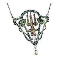 Antique Art Nouveau Green and Gold Enamel Floral Pendant Necklace