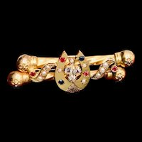 Antique Aesthetic Gold Horseshoe Bar Pin with Diamond, Ruby, Sapphire, Pearl
