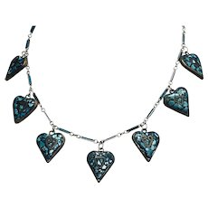 Vintage Turquoise Inlay Heart Pendants and Chain Necklace