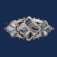 Antique Victorian Scottish Agate Silver Bar Brooch c1860-1870