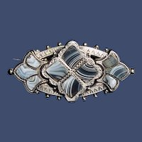 Antique Victorian Scottish Agate Silver Bar Brooch c1860-1870