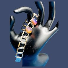Dragon's Breath Silvertone Gothic Revival Bracelet - c1938