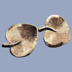 Vintage 18K Solid Handcrafted Yellow Gold Ginkgo Leaf Earrings