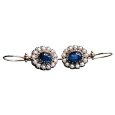 Estate 14K Yellow Gold Sapphire and Seed Pearls Earrings