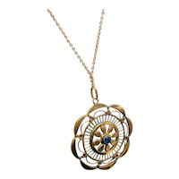 Gold Filled Pendant with Blue Stone Pendant Necklace