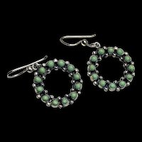 Vintage Sterling Green Turquoise Stone Dangle Wreath Earrings