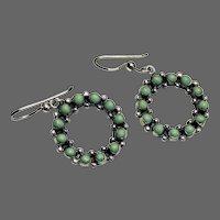 Vintage Sterling Green Turquoise Stone Dangle Wreath Earrings