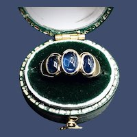 Natural Blue Ceylon Sapphire Cabochon 2.52 tcw 18K Yellow Gold