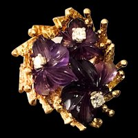 Vintage 18K Hand Carved Amethyst and Diamond Ring