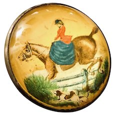 Horse Bridle Rosette Yellow Background Side-saddle Rider