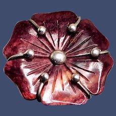 Vintage Carved Flower Natural Amethyst 950 Sterling Brooch/Pendant