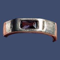 Vintage 925 Natural Amethyst Gemstone Wide Octagon Band Ring Size 8
