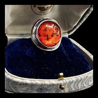 Vintage Amber Silver Statement Ring