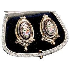 Victorian Italian Goldstone and Millefiori Bouquet Pietra Dura Earrings
