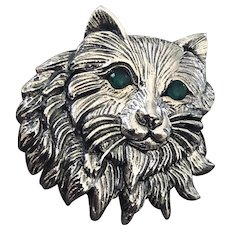 Sterling Cat with Emerald Eyes Brooch