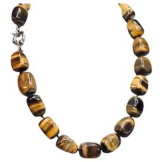 Vintage Tiger Eye Square Bead Necklace - Mid-century