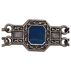 ESTATE: Vintage Egyptian-blue Enamel Deco Bracelet
