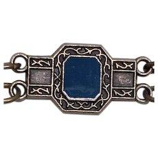 ESTATE: Vintage Egyptian-blue Enamel Deco Bracelet