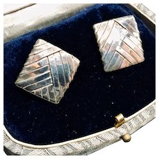 Modernist Signed Gabriel Ofiesh Square Woven Sterling Silver Earrings