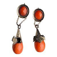 Antique 14K Yellow Gold Dangle Salmon Coral Earrings