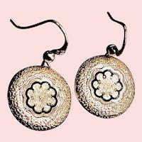 Antique GF Taille d'Epargne Black Enamel Dangle Earrings