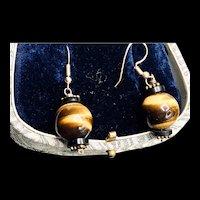 Vintage Tigers Eye Sterling Dangle Earrings
