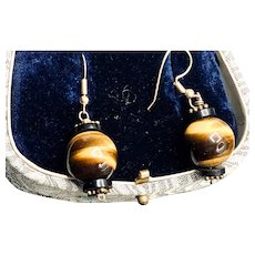 Vintage Tigers Eye Sterling Dangle Earrings