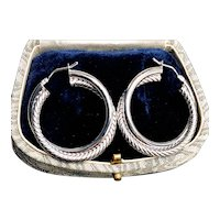 Vintage Large Double Twist 14K White Gold Hoop Earrings