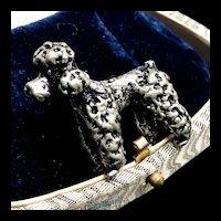 Vintage Silver Poodle Brooch