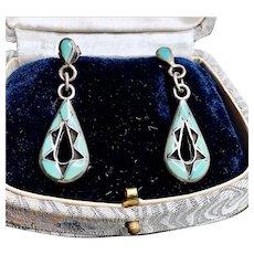Vintage Sterling Silver Inlay Dangle Earrings
