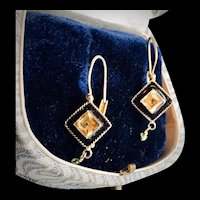 Citrine Black Enamel Earrings in 14kt GF Lever Back