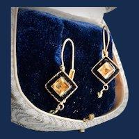 Citrine Black Enamel Earrings in 14kt GF Lever Back