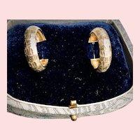 10K Yellow Gold Geometric Pattern Hoop Earrings
